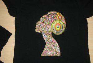 Черный образец печати футболки от A2 T-shirt printer WER-D4880T